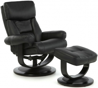 Serene Risor Black Bonded Leather Recliner Chair