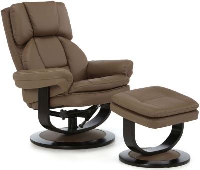Serene Vardo Latte Bonded Leather Recliner Chair