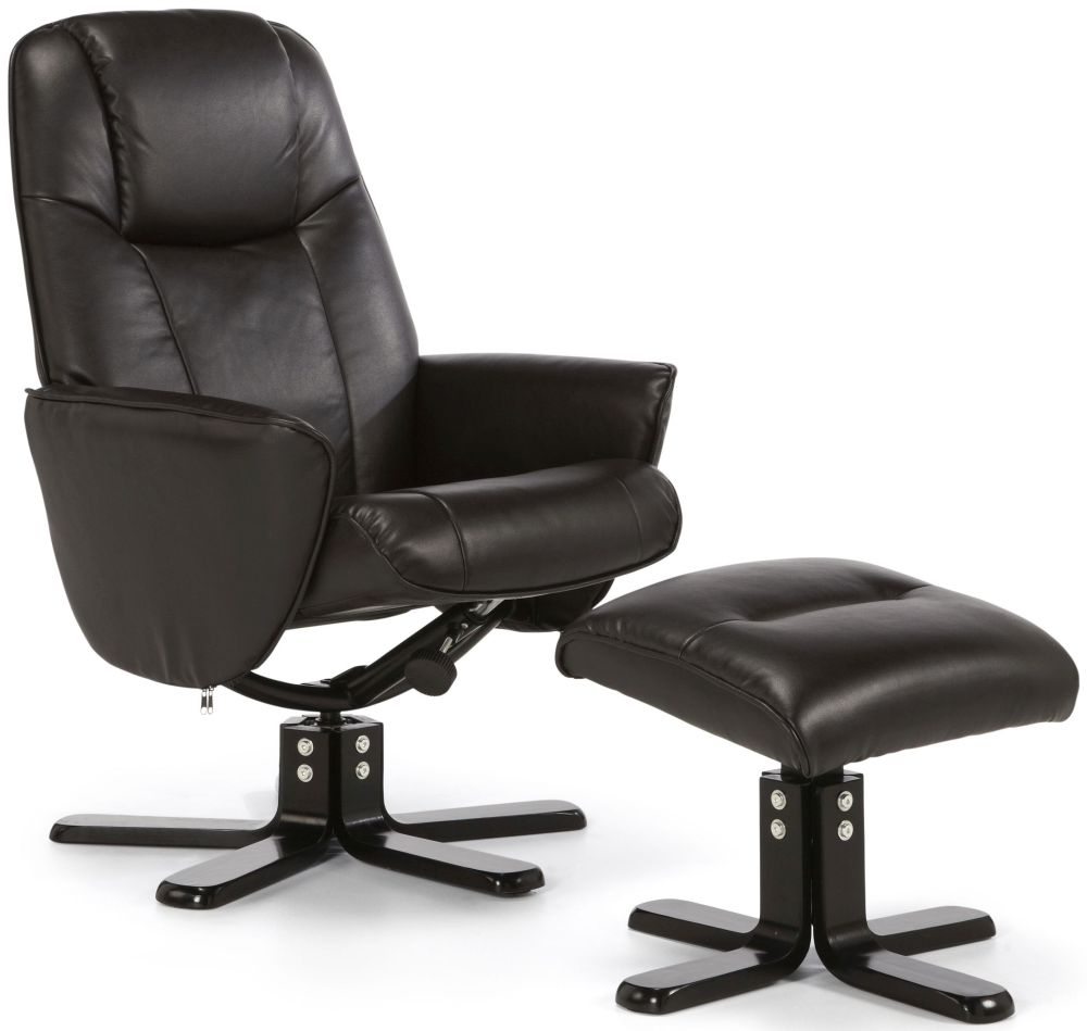 Serene Bergen Brown Faux Leather Recliner Chair Serene