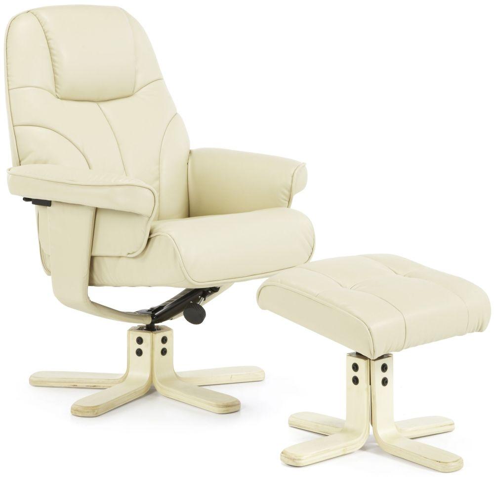 Serene Bodo Cream Faux Leather Recliner Chair