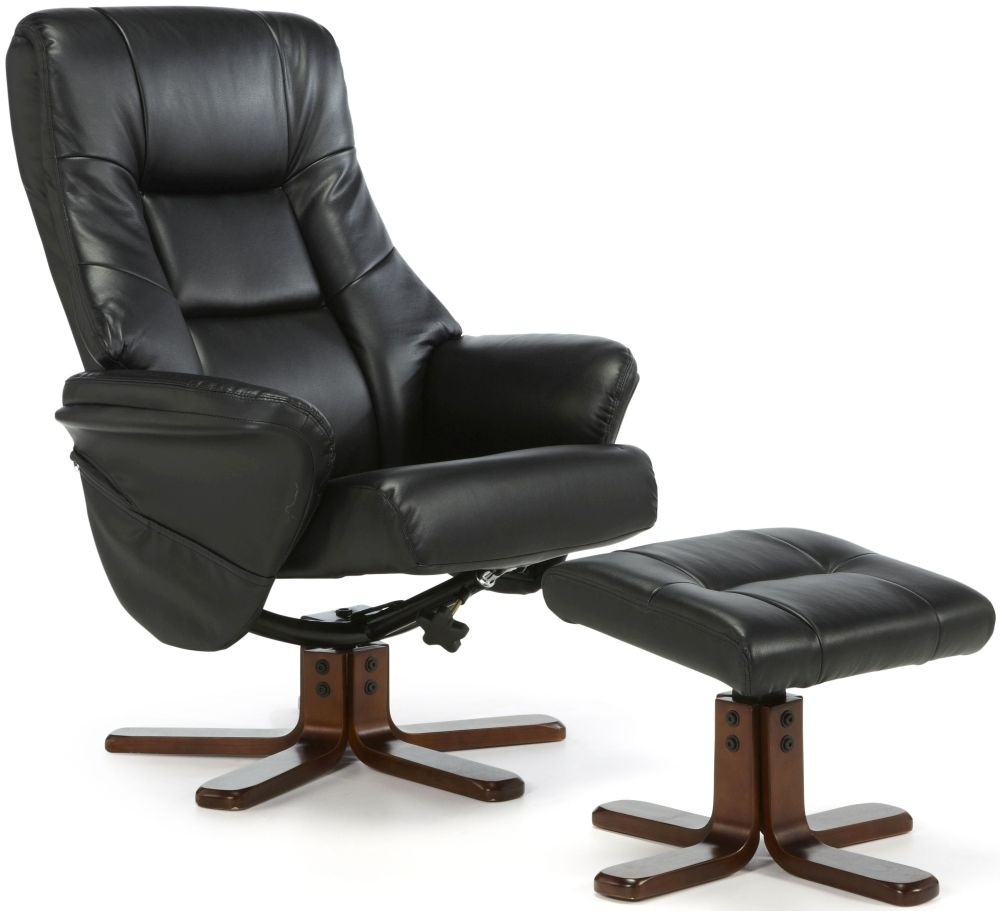 Serene Drammen Black Faux Leather Recliner Chair