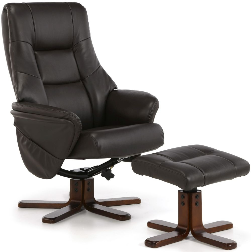 Serene Drammen Brown Faux Leather Recliner Chair