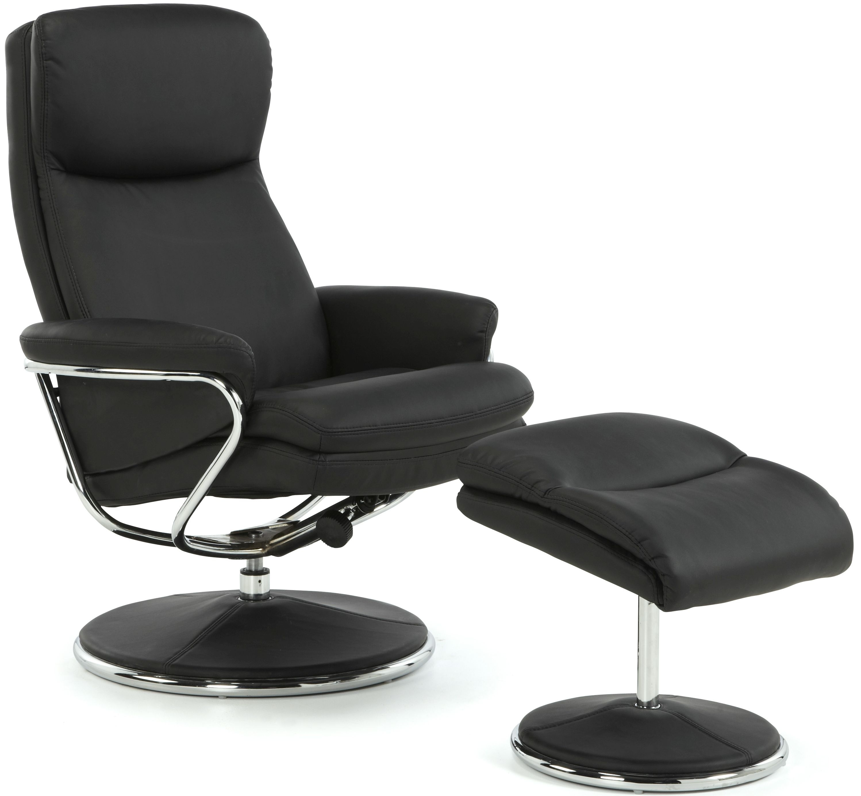 Serene Halden Black Faux Leather Recliner Chair