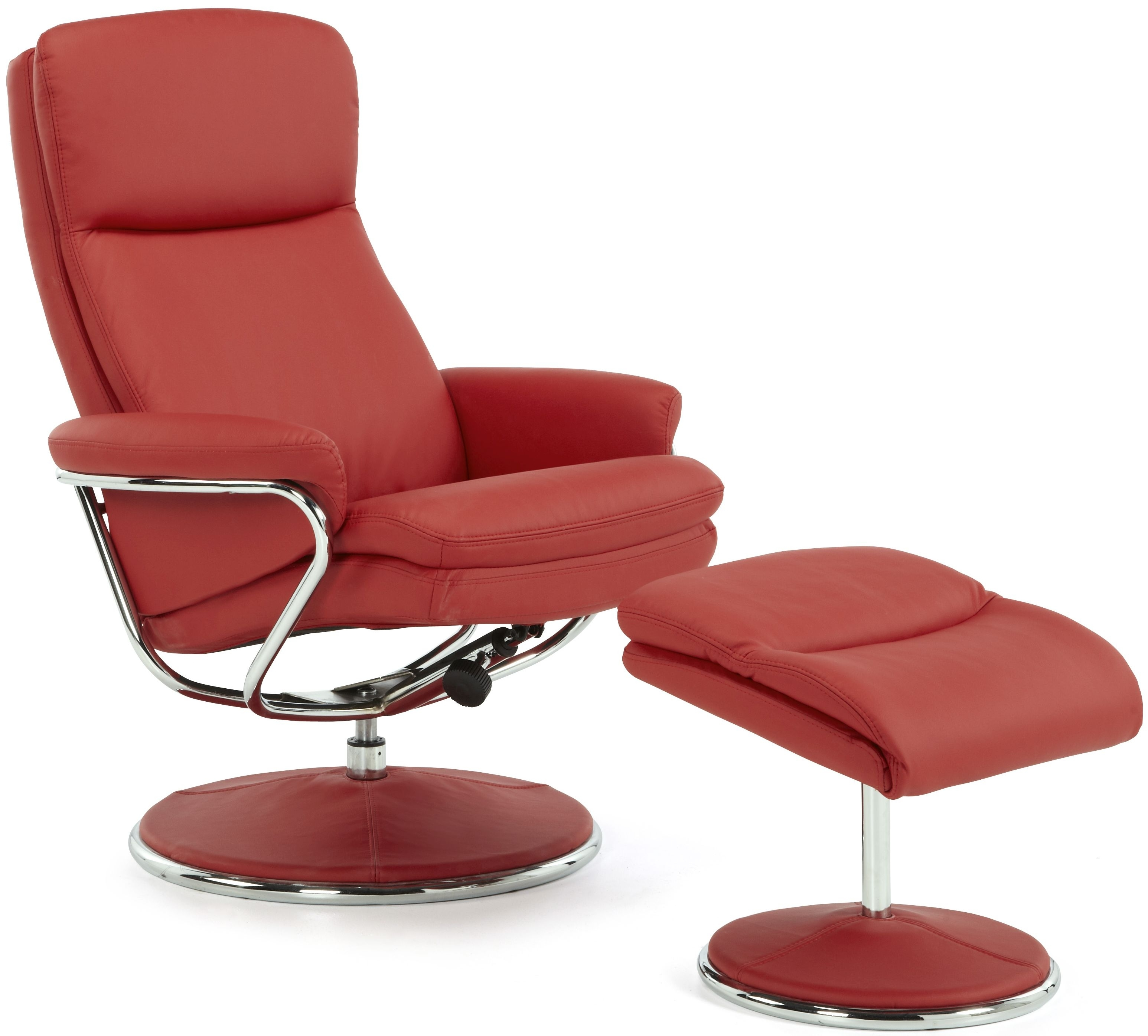 Serene Halden Red Faux Leather Recliner Chair