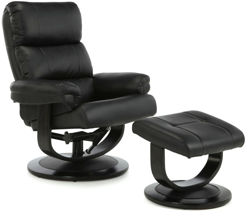 Serene Horten Black Faux Leather Recliner Chair