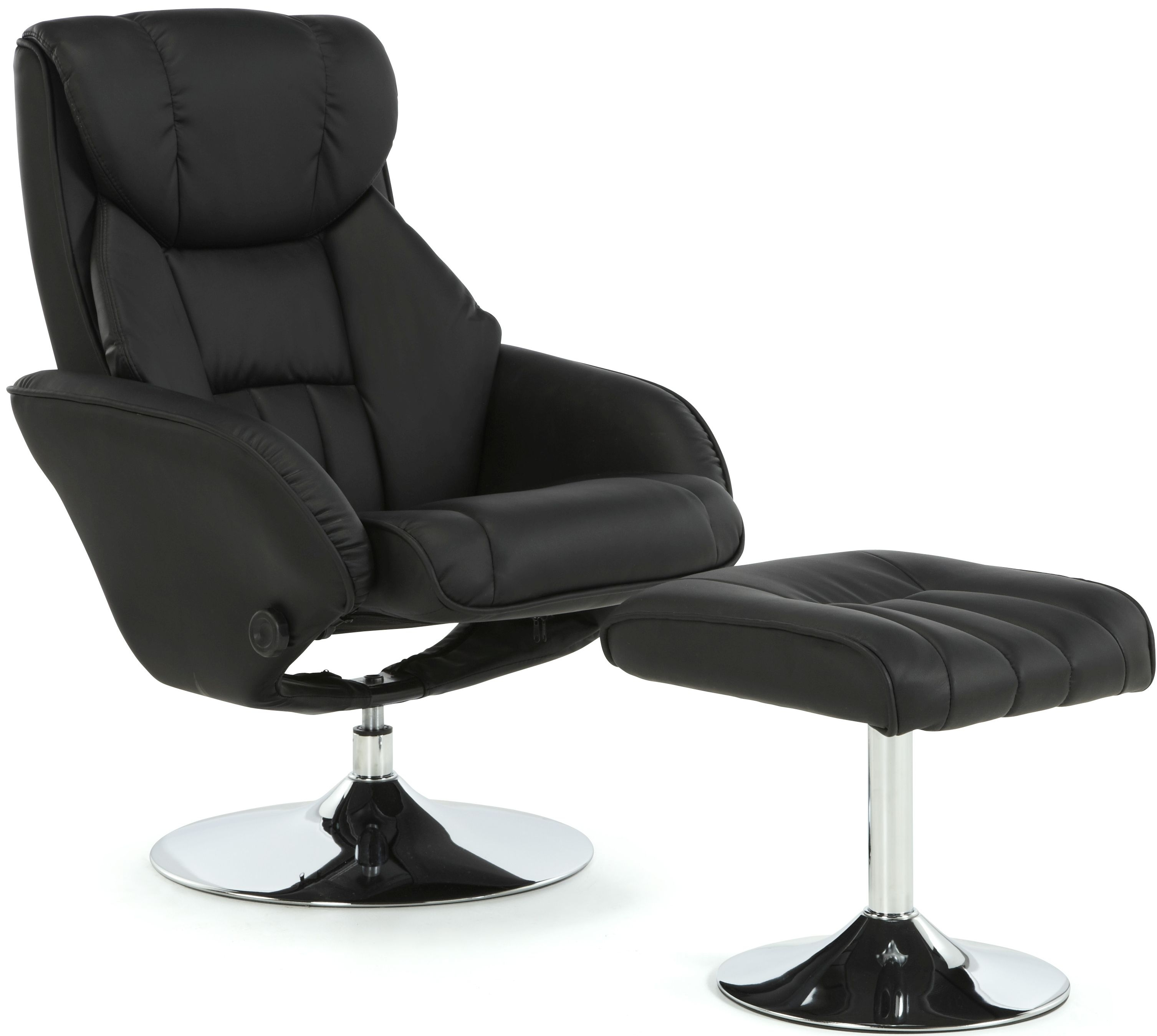 Serene Larvik Black Faux Leather Recliner Chair