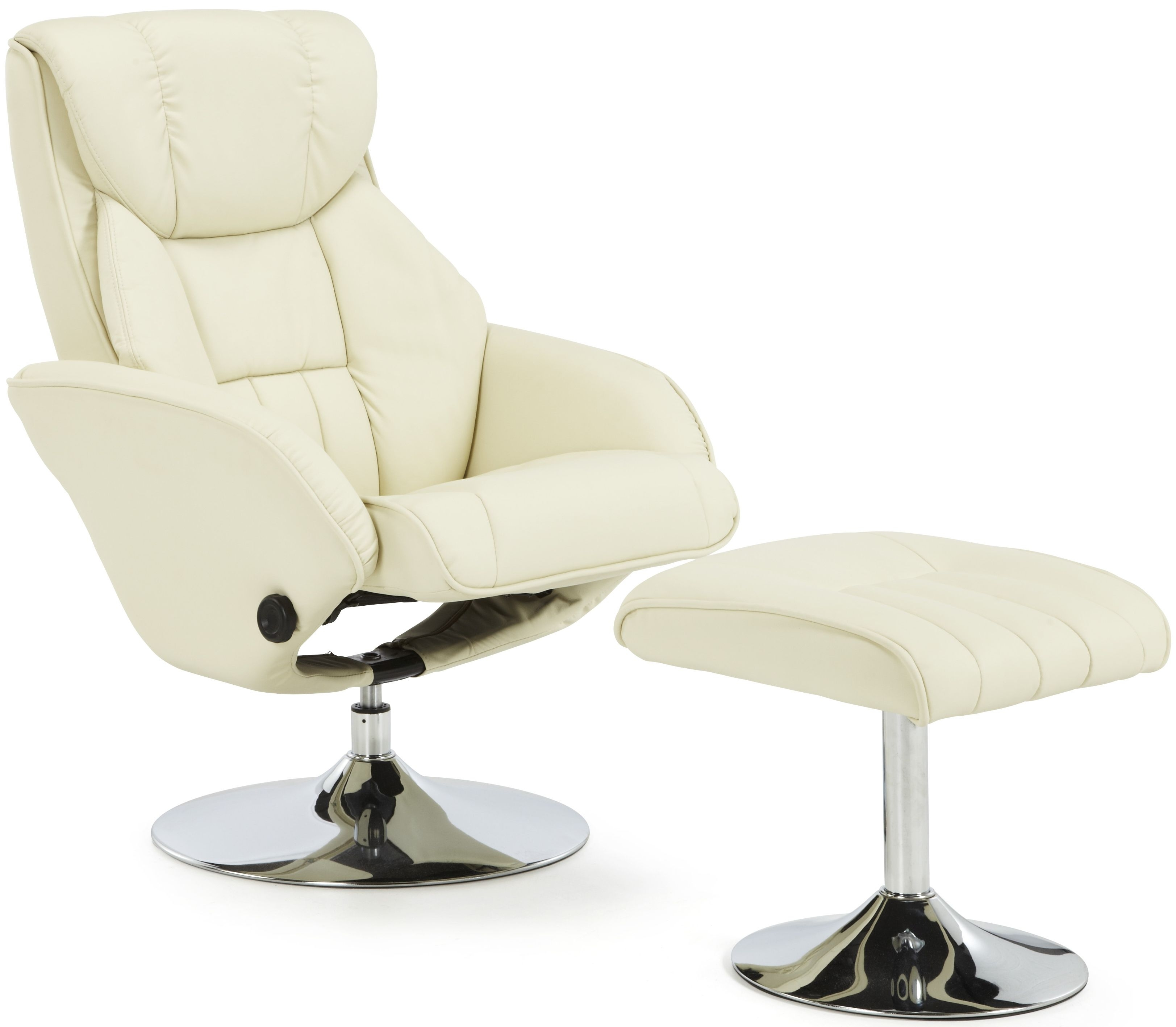 Serene Larvik Cream Faux Leather Recliner Chair