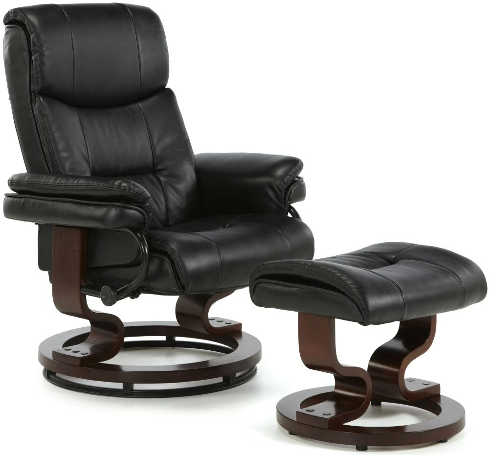 Serene Moss Black Faux Leather Recliner Chair | Serene ...