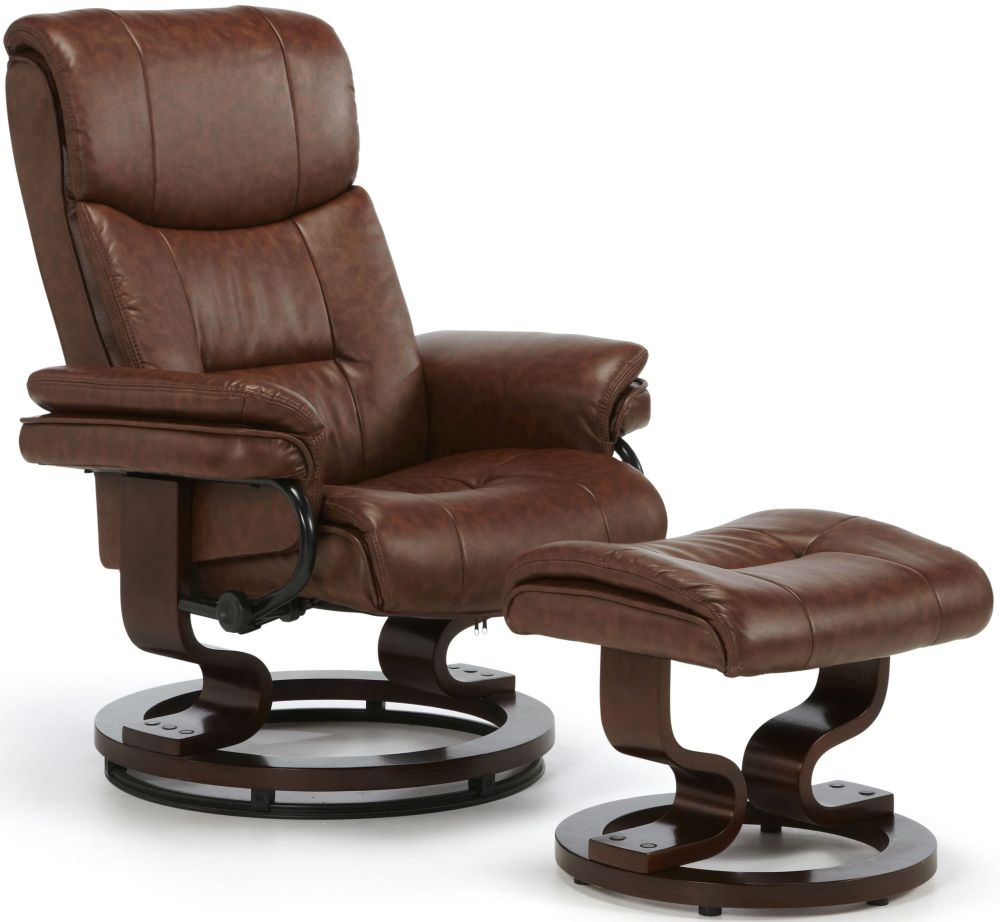 Serene Moss Chestnut Faux Leather Recliner Chair