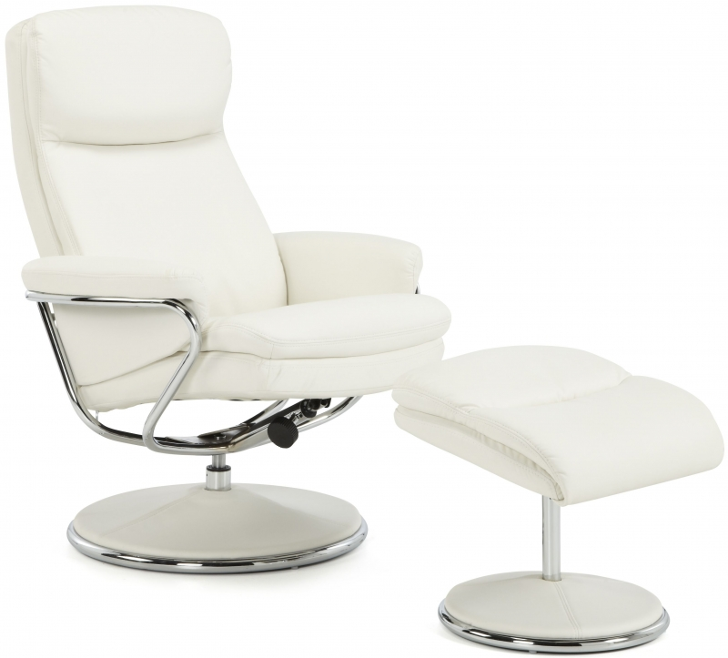 Serene Halden White Faux Leather Recliner Chair