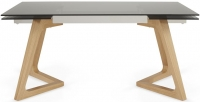 Serene Seville Extending Dining Table - Smoked Glass and Oak
