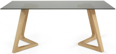 Serene Seville Dining Table - Smoked Glass and Oak