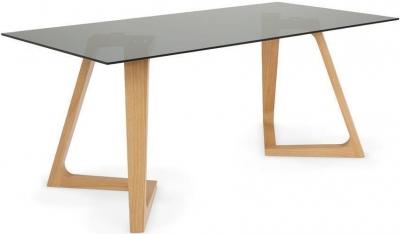 Serene Seville Oak Smoked Glass Top Rectangular Dining Table - 160cm