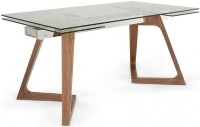 Serene Seville Walnut Clear Glass Top Rectangular Extending Dining Table - 160cm-240cm