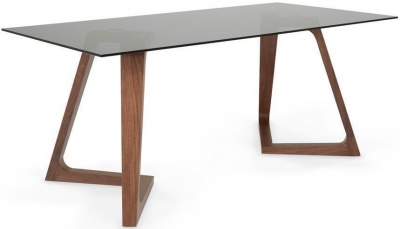 Serene Seville Walnut Smoked Glass Top Rectangular Dining Table - 160cm