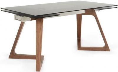 Serene Seville Walnut Smoked Glass Top Rectangular Extending Dining Table - 160cm-240cm