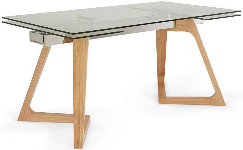 Serene Seville Oak Clear Glass Top Rectangular Extending Dining Table - 160cm-240cm