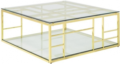 Serene Skyler Glass and Gold Square Coffee Table