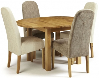 Serene Sutton Oak Dining Set - Round Extending with 2 Marlow Bark and 2 Pearl Chairs