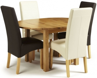 Serene Sutton Oak Dining Set - Round Extending with 2 Merton Brown and 2 Cream Faux Leather Chairs