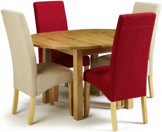 Serene Sutton Oak Dining Set - Round Extending with 2 Merton Stone and 2 Scarlet Chairs