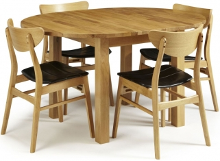 Serene Sutton Oak Dining Set - Round Extending with 4 Camden Oak Chairs