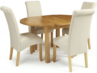 Serene Sutton Oak Dining Set - Round Extending with 4 Kingston Cream Plain Chairs