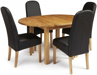 Serene Sutton Oak Dining Set - Round Extending with 4 Marlow Black Faux Leather Chairs