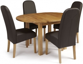Serene Sutton Oak Dining Set - Round Extending with 4 Marlow Brown Faux Leather Chairs