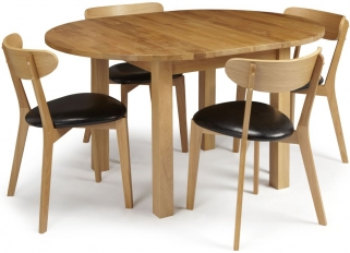 Serene Sutton Oak Dining Set - Round Extending with 4 Newham Chairs