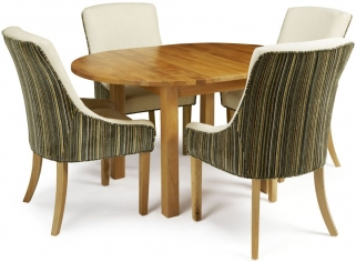 Serene Sutton Oak Dining Set - Round Extending with 4 Richmond Aubergine Pearl Chairs