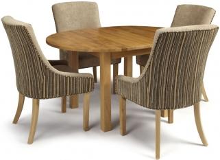 Serene Sutton Oak Dining Set - Round Extending with 4 Richmond Sand Mink Chairs