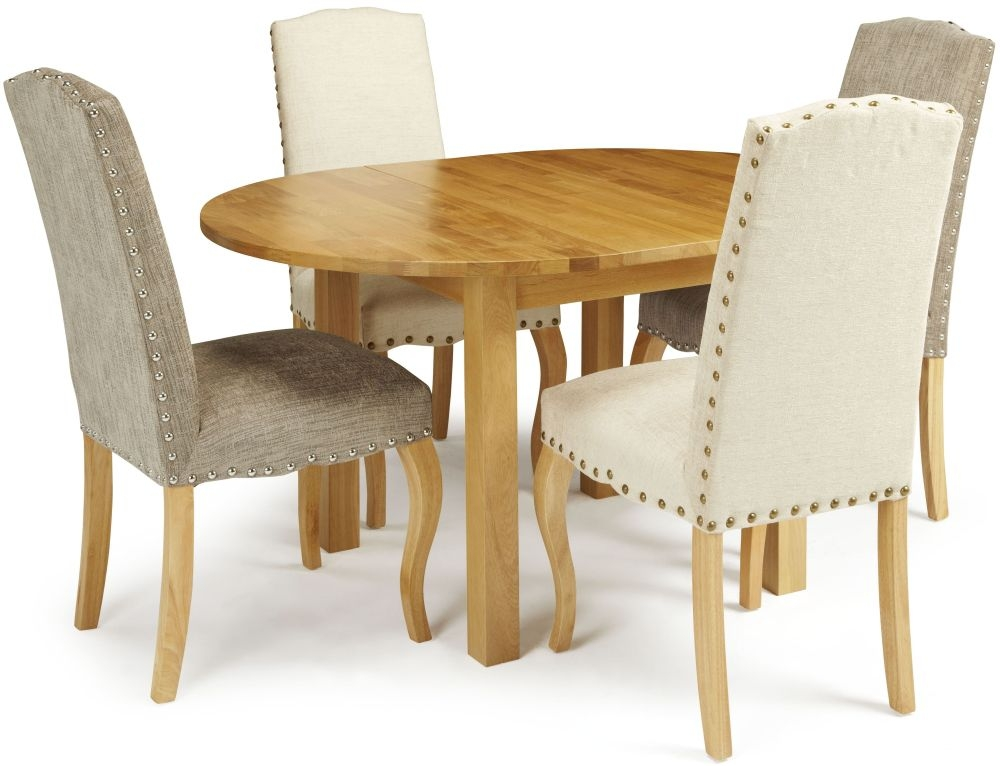 Serene Sutton Oak Dining Set - Round Extending with 2 Kensington Pearl and 2 Bark Chairs