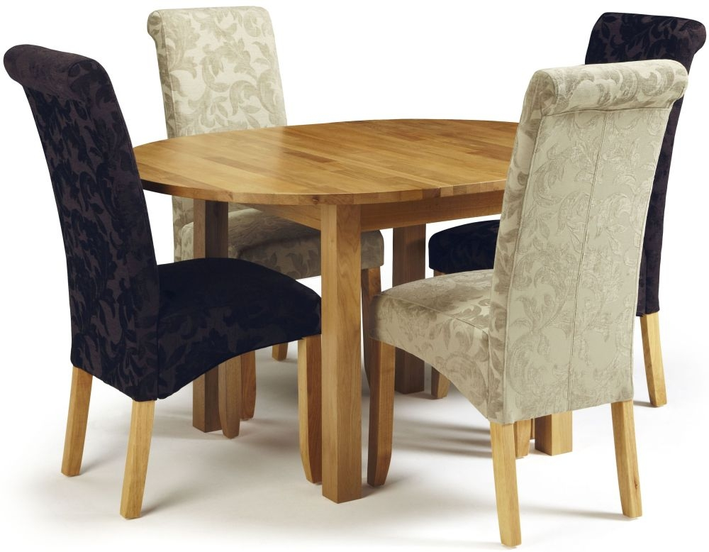 Serene Sutton Oak Dining Set - Round Extending with 2 Kingston Aubergine Floral and 2 Sage Floral Chairs