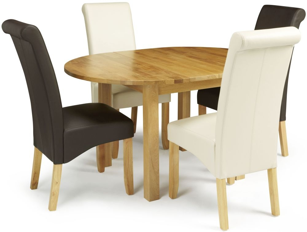 Serene Sutton Oak Round Extending Dining Set with 2 Kingston Brown and 2 Cream Faux Leather Chairs - 105cm-140cm