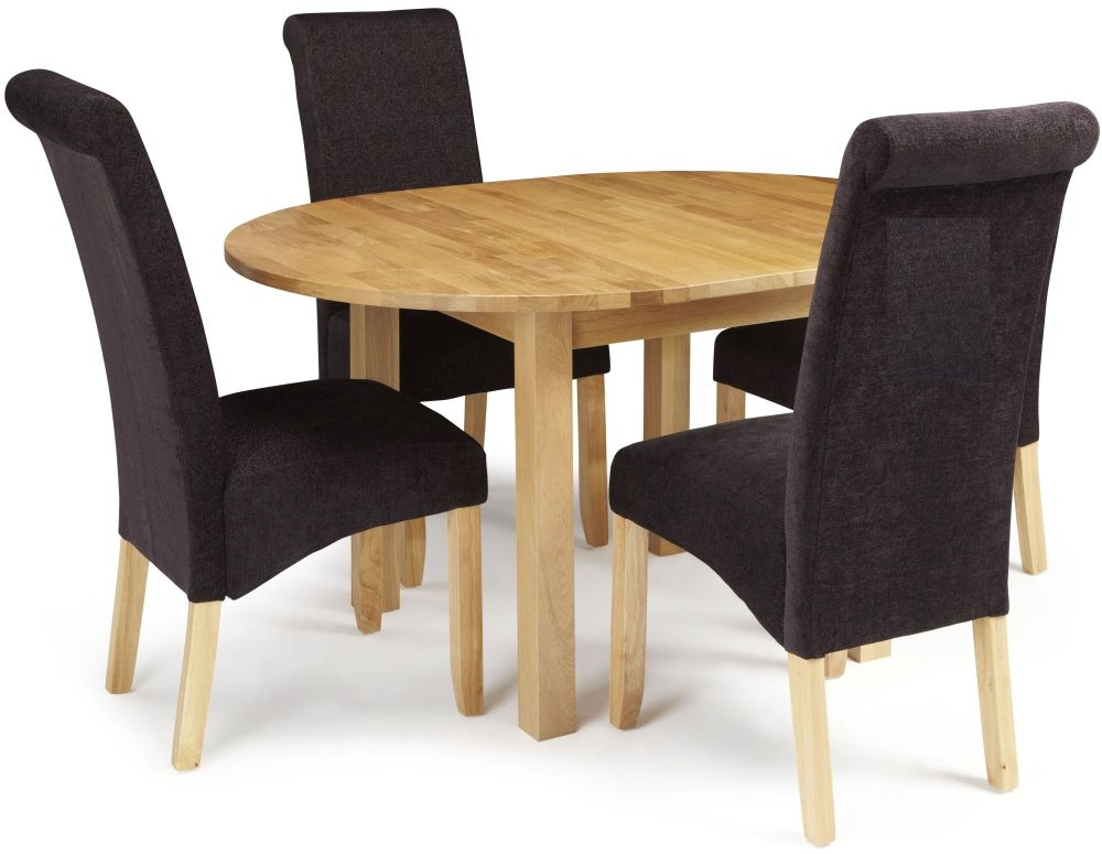 Serene Sutton Oak Dining Set - Round Extending with 4 Kingston Aubergine Plain Chairs