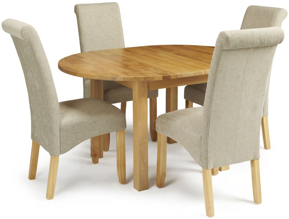 Serene Sutton Oak Dining Set - Round Extending with 4 Kingston Sage Plain Chairs
