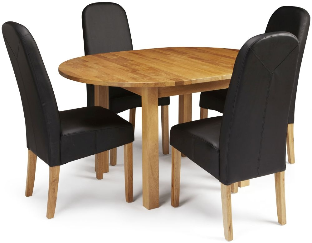 Edmonton Oak Extending Round Dining Table 4 Black Lola  : 3 Serene Sutton Oak Dining Set Round Extending with 4 Marlow Black Faux Leather Chairs from furniturecompare.uk size 1000 x 781 jpeg 173kB