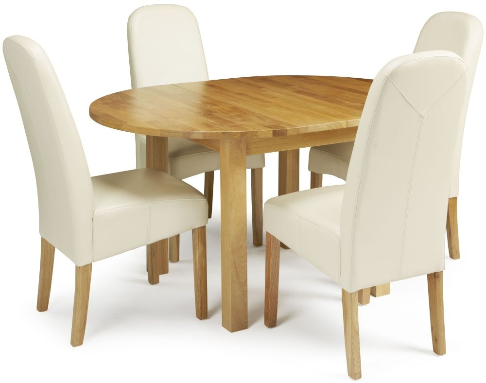 Serene Sutton Oak Dining Set - Round Extending with 4 Marlow Cream Faux Leather Chairs