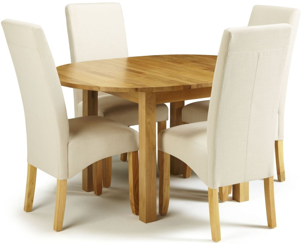 Serene Sutton Oak Dining Set - Round Extending with 4 Merton Putty Chairs