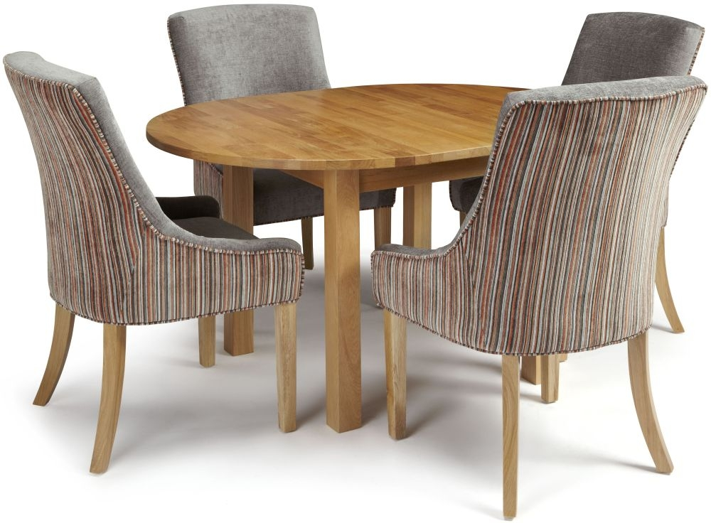 Serene Sutton Oak Dining Set - Round Extending with 4 Richmond Orange Steel Chairs