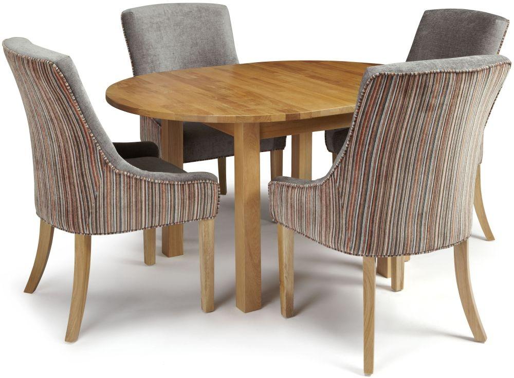 Serene Sutton Oak Dining Set - Round Extending with 4 Richmond Orange Steel Chairs