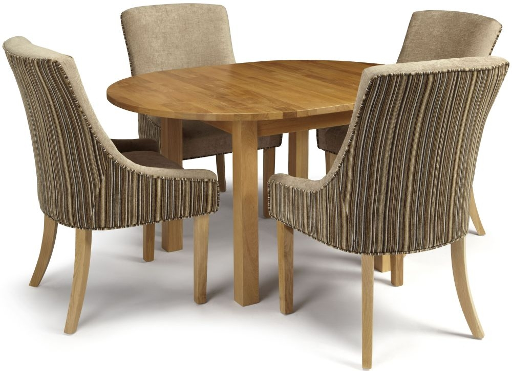 Serene Sutton Oak Dining Set - Round Extending with 4 Richmond Sand Mink Chairs