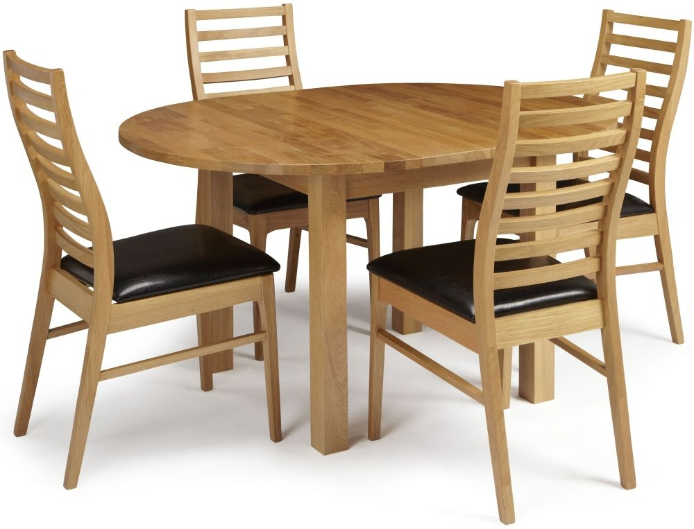 Serene Sutton Oak Dining Set - Round Extending with 4 Wandsworth Chairs