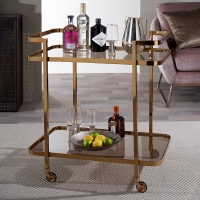 Serene Buxar Black Smoked Glass and Antique Gold Trolley
