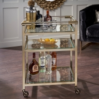 Serene Tenali Glass and Antique Brass Trolley