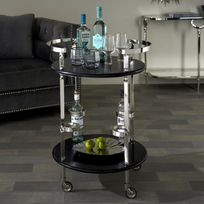 Serene Gaya Black Marble and Nickel Trolley with 4 Bottle Holder