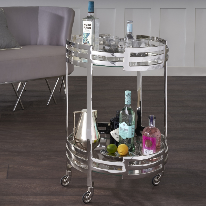 Serene Chapra Clear Tempered Glass and Nickel Trolley