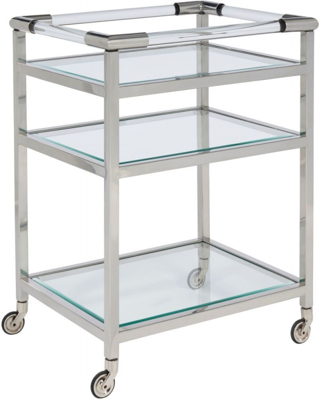 Serene Tenali Glass and Nickel Trolley