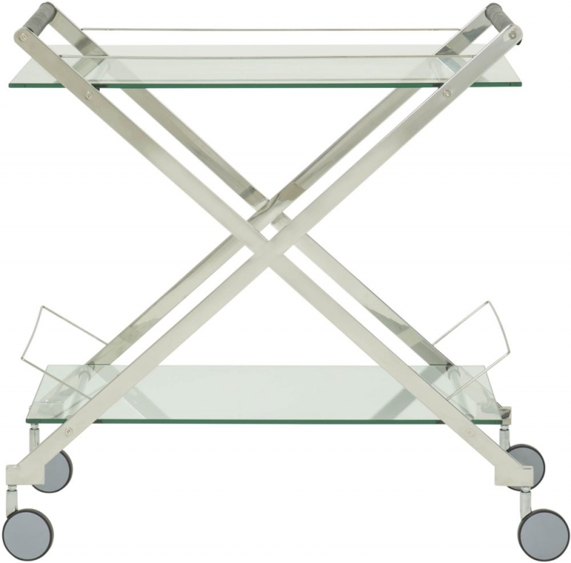 Serene Angelina Glass and Silver Drinks Trolley